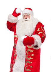 Santa Claus with a snowball on a white background