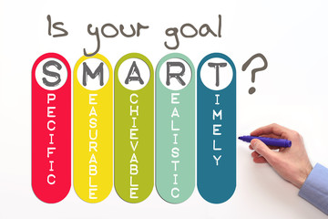 Goal setting. Smart goal concept on white background