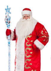 Santa Claus with a stick on a white background