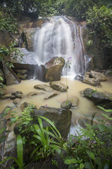 Beautiful panorama of waterfalls in deep forest ,Malaysia