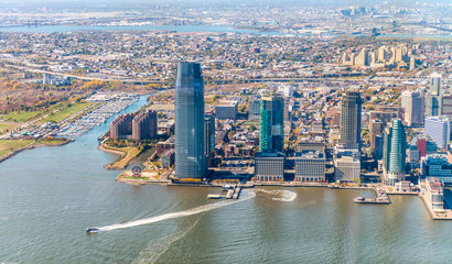 Fototapete - Jersey City skyline as seen from helicopter, USA