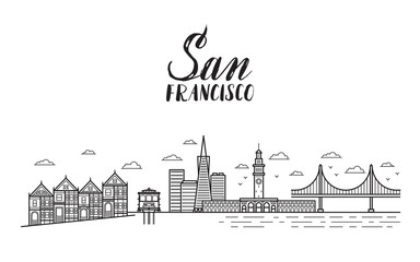 San Francisco illustration with modern lettering, city buildings
