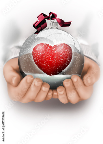 Bola cristal navidad de nieve corazon fotos de archivo e - Bola nieve cristal ...