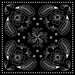 Black and white abstract bandana print with  element henna style. Square pattern design for pillow, carpet, rug. Design for silk neck scarf, kerchief, hanky