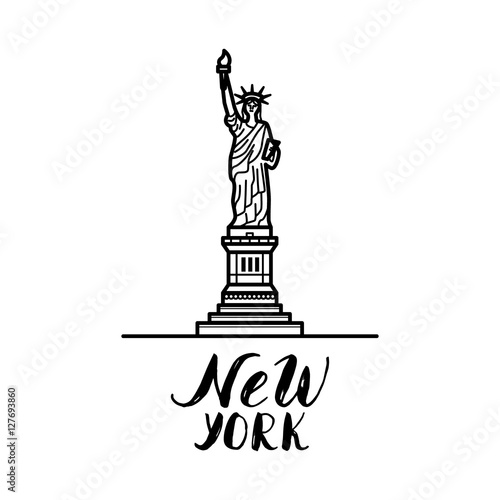 New York Illustration With Modern Calligraphy And Statue