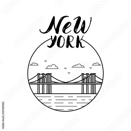 Quot new york illustration with modern calligraphy and