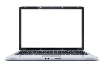 Laptop isolated and empty white screen