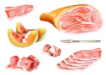 Prosciutto and jamon set. Watercolor