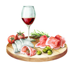 Prosciutto, mozzarella, olives and wine on the platter. Watercolor