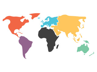 Wall Mural - Multicolored world map divided to six continents in different colors - North America, South America, Africa, Europe, Asia and Australia Oceania. Simplified silhouette blank vector map without labels.