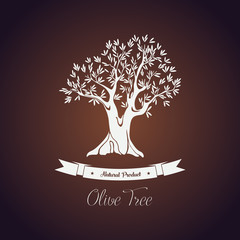 Banner or logo for olive oil tree with branch