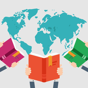 Three books in hand on world map background. Knowledge, education flat concept. Vector illustration