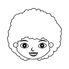 front face child silhouette with curly hair vector illustration