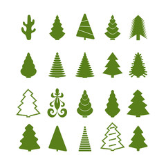 Set of green silhouettes Christmas tree on a white background. Vector illustration.