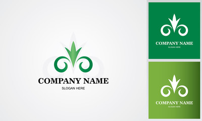 green flower decoration logo