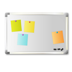 Vector illustration of white office board with Note Paper