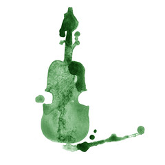 watercolor hand drawn green violin with splash on white background