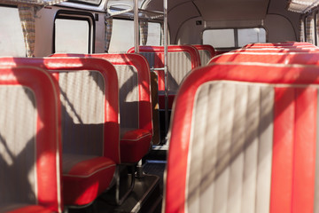 Red bus seats