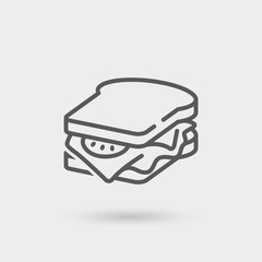 Photo sur Toile Snack sandwich thin line icon