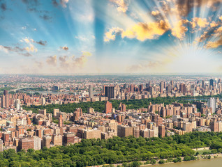Helicopter view of Central Park and city skyscrapers in Manhatta