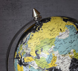 Close up of old vintage globe