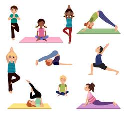 Yoga kids. Asanas poses set