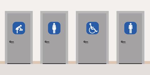 Panneaux - Toilettes - Sanitaires - Handicap Homme Femme - Nurserie
