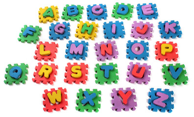 Cut out letters of toy plastic alphabet