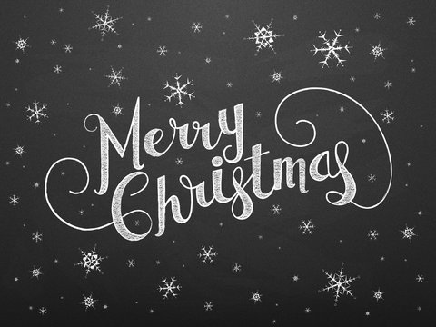 MERRY CHRISTMAS Vector Chalkboard Card with Snowflakes