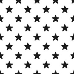 Grunge seamless pattern of black stars on white background, hand painted seamless background of black stars, vector design textile, wallpaper, web design, wrapping, fabric, paper