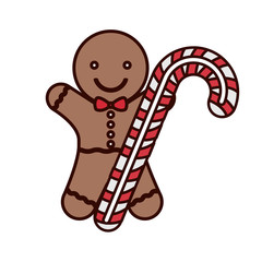 cookie Christmas with candy cane vector illustration