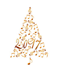2017 christmas tree with golden metal musical notes isolated on white background
