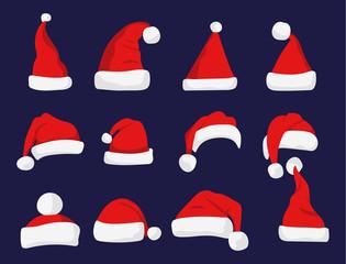Santa Claus red hat silhouette.