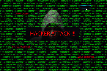 Hacker over a screen with binary code and warning messages