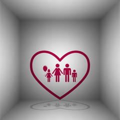 Family sign illustration in heart shape. Bordo icon with shadow in the room.