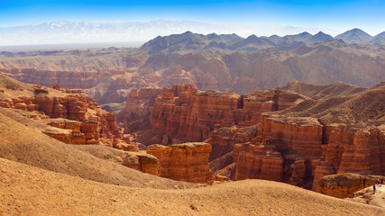 Charyn canyon in Almaty region of Kazakhstan. Beautiful mountain landscape.