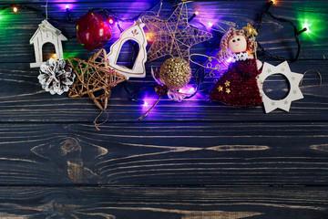 christmas garland lights border ang golden toys on stylish black