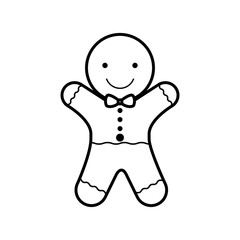 cookie Christmas silhouette with bow in neck vector illustration