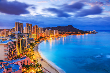 Honolulu, Hawaii. Skyline of Honolulu, Diamond Head volcano including the hotels and buildings on Waikiki Beach.