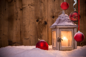 Christmas decoration on wooden background
