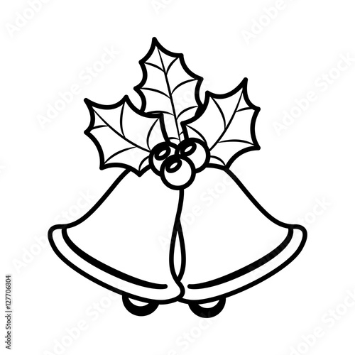 Quot ornament silhouette with leaves christmas and bell vector