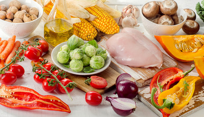 Healthy eating, dieting concept. Fruits, vegetables and chicken