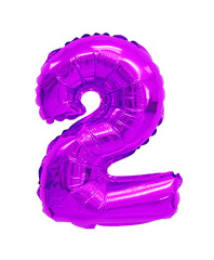 number 2 (two) from balloons purple, violet
