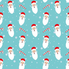 Seamless flat  Santa Christmas pattern.Christmas pattern with santa Claus.