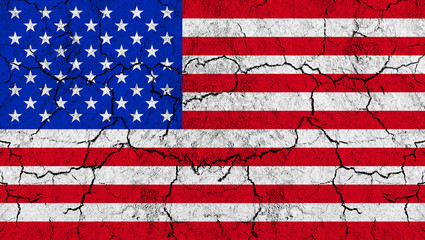 Flag of United States of America on rugged wall full of scratches - metaphor of problem and crisis leading to collapse of country