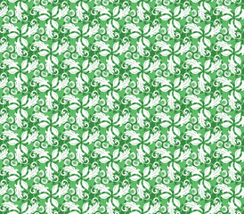 Floral ornament. Seamless abstract classic pattern with flowers. Green and white pattern