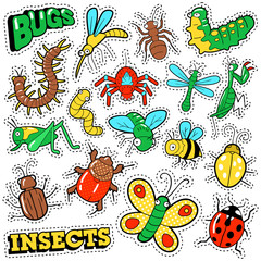 Bugs and Insects Patches, Stickers, Badges Set for Prints and Textile. Vector Doodle in Comic Style