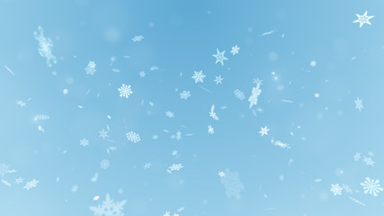 Christmas snowflakes on background. Winter background with snowf