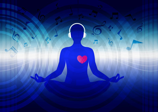 woman meditate and listening  musice blue abstract sound background, yoga.
