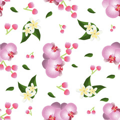 Orchid seamless pattern vector.